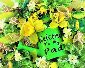 Summer Wreath, Deco Mesh Wreath, Out Door Wreath, Front Door Wreath, Whimsical Wreath, Frog Wreath, Spring Wreath, Daffidil Wreath,