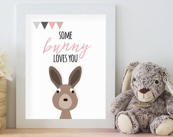 Some Bunny Loves You, 11x14 Digital Download Prints, Wall Art, Girl Nursery, Rabbit Nursery, Playroom, Arbor Grace Collections