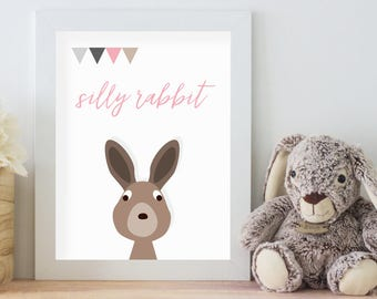 Silly Rabbit, 11x14 Digital Download Prints, Wall Art, Girl Nursery, Rabbit Nursery, Playroom, Arbor Grace Collections