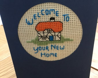 Homemade Embroidered New Home Card