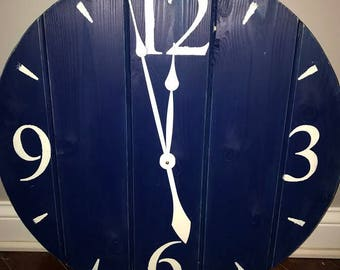"""24"""" Americana Blue Clock Navy Clock w/ Antique White Numbers & Ticks Rustic Distressed Reclaimed Wood Farmhouse Shiplap Large Wall Clock"""