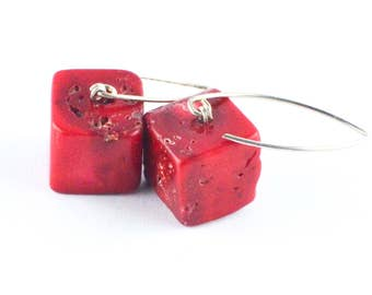 Silver earrings, earrings, sterling silver 925, coral, cube, CUbe, red, red, handmade new