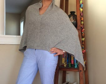 Kneaded Gray Cashmere Poncho from Nepal