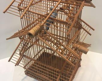 Vintage bamboo birdcage w porcelain parakeet *FREE SHIPPING*