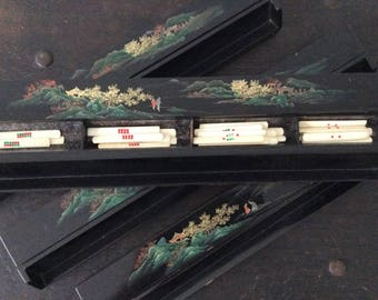 Antique Chinese Mah Jong Lacquered Tile Racks or Trays / Mahjongg / Mahjong