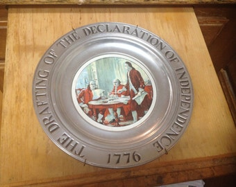 """Wilton Columbia RWP 11"""" Pewter Plate; Drafting Declaration Independence 1776"""