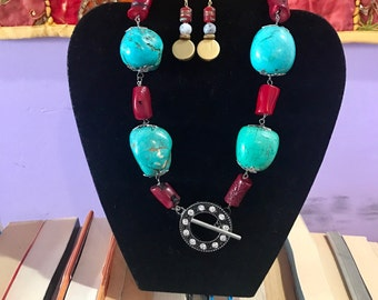 One of a Kind Necklace and Earrings set