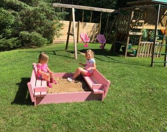 Folding bench sandbox