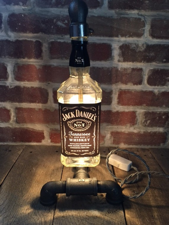 Jack Daniels Liquor Bottle Steampunk Lamp With Black