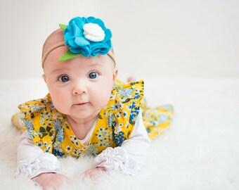 Felt Flower, Nylon Headband , Baby Girl Felt Flower, Summer Headband , Newborn Headband , Flower Headband , Blue Flower