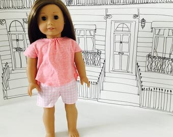 Dolls Clothes / Pink T-shirt & puppy tooth check shorts