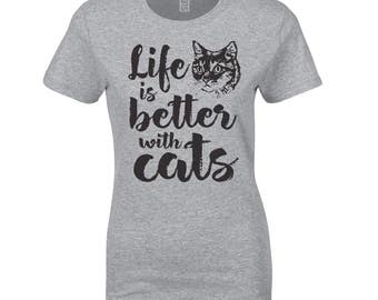 Women's 'Life Is Better With Cats' T-Shirt In Grey Or Pink