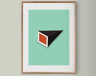 Sushi Cubes,Sushi Print - Sushi Wall Art, Minimalist Food Print