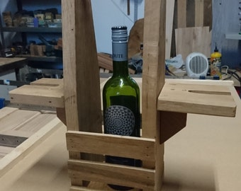 Handmade Solid Oak Garden Wine Caddy