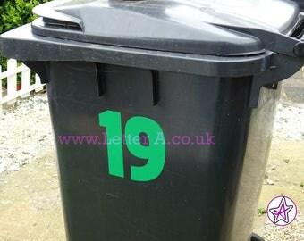Number stickers for wheelie bin / recycling bin