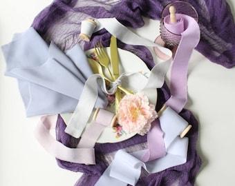 Silk styling bundle Purple gray hand dyed silk ribbons Gray silk napkin Purple gauze table runner Wedding decoration Photo shoot styling