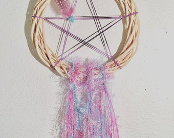 Pink & Blue Wiccan Pagan Pentacle Dream Catcher