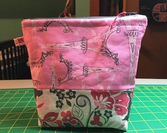 Paris fabric cosmetic bag