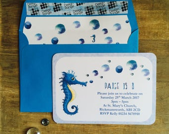 Seahorse Party Invitation