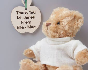 Personalised Apple Thank You Teacher Message Bauble