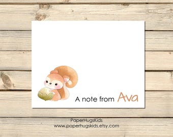 PRINTABLE squirrel stationery, woodland animal Note Cards, Thank You Cards, Personalized Stationery, Note Cards, Woodland / Digital File