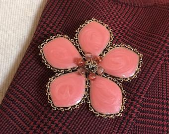Vintage Pink Enamel Gold Tone Brooch Unsigned