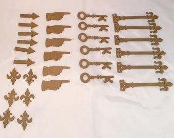 Tim Holtz Die Cuts *  Chipboard Embellishments * Keys * Arrows * Fleur de Lis * Pointed Finger * Six of Each Design * 30 Pieces Total!