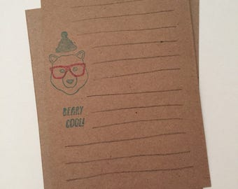 Beary Cool Hipster Bear Notecards - Handmade - Recycled - Brown Bag Paper - Stationary