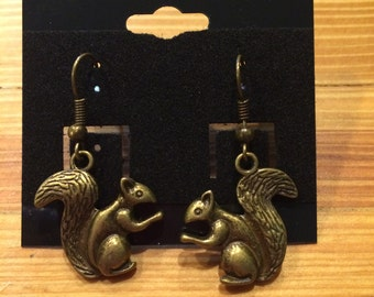 Squirrel Brass Dangle Earrings