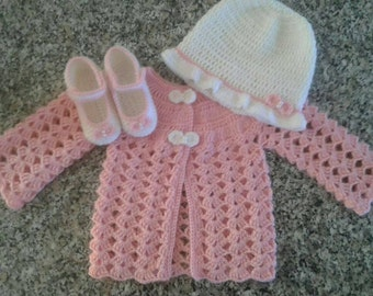 0-3 months baby girls outfit jacket hat and booties