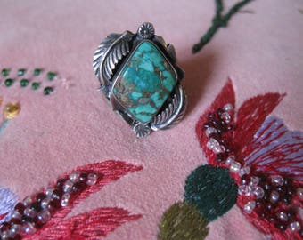 Turquoise and Sterling Ring, Southwest Jewelry, Native American Jewelry, Turquoise Ring, Vintage Jewelry