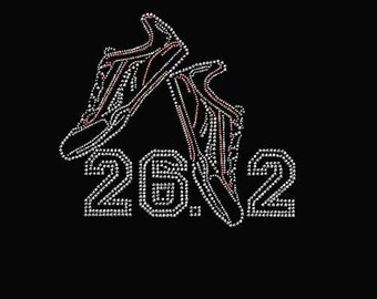 Rhinestone 26.2 with Shoes Lightweight T-Shirt ot DIY Transfer                                      39Z5
