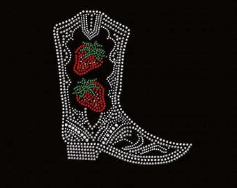 Rhinestone Boot with Strawberry  Lightweight T-Shirt  OR T Shirt Transfer                          HHIU