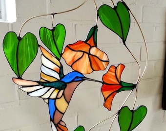 Stained glass birds suncatcher, glass hanger of bird, Hummingbird, Tiffany, window hanger, window art with different colors