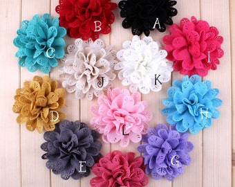 Free Shipping Newborn Chic Fabric Flowers For Hair Accessories Artificial Hollow Out Leaf Flowers For Baby Headbands Diy Flower Supply 3.8""