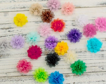 Free Shipping 5CM Wholesale Chic Mini Soft Chiffon Flowers For Girls Headbands High Quality Fabric Flower For Hair Clips Accessories