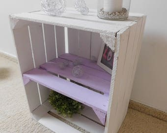 "decorative white wood boxes with intermediate bottom (pastellf.) ""Shabby-Chic"""