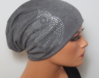 BEANIE/Hat fashionable almost comfortable with Rhinestone OWL in dark grey