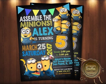 Minion Invitation. Minion Party Invitation. Minion Birthday - Digital File