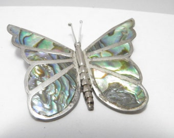 Mexican Silver and Abalone Butterfly Pin
