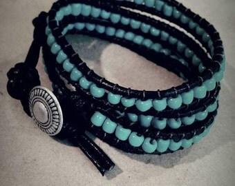 Handmade leather wrap bracelet