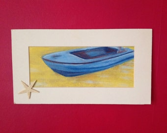 Acrylic painting. Blue boat on the sand. Original signed painting.