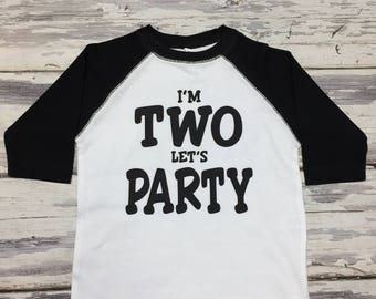 Two Year Old Birthday Shirt - I'm Two Birthday Raglan Shirt With Free Option to Add Littles Name on Back