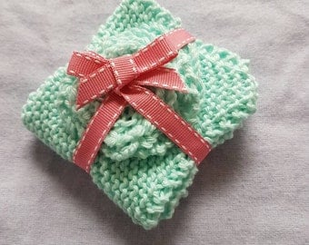 Hand knitted 100% cotton facecloths