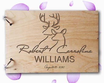 Wedding GuestBook Wood GuestBook Wedding Gift Personalized GuestBook Deer GuestBook Couples GuestBook Tree GuestBook Rustic Guest Book