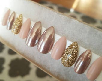 Nude and rose gold with gold accent nails|Any size or shape|Fake nails|glue on nails|Press on nails|Matte nails|Stiletto nails|