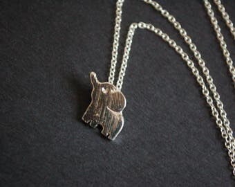 Silver tone small elephant necklace