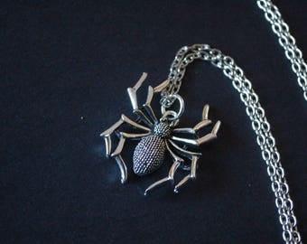 silver tone spider necklace