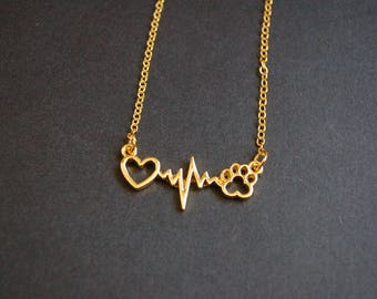Gold tone heart beat animal necklace