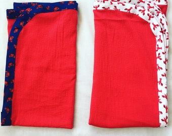 Gauze baby blanket with custom binding